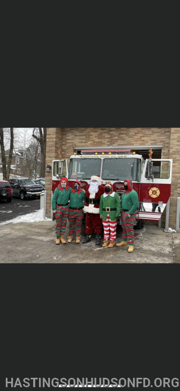 Engine 45 Santa and elves