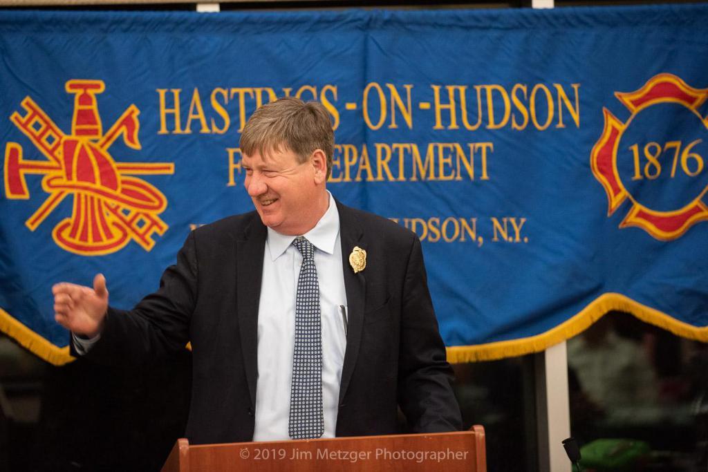 Chief John Lindner addresses the membership.